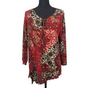 Susan Lawrence Woman Keyhole Blouse Red Print Plus